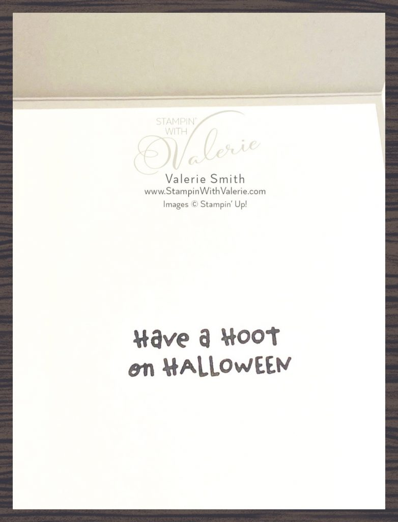 Inside of card sentiment have a hoot on halloween