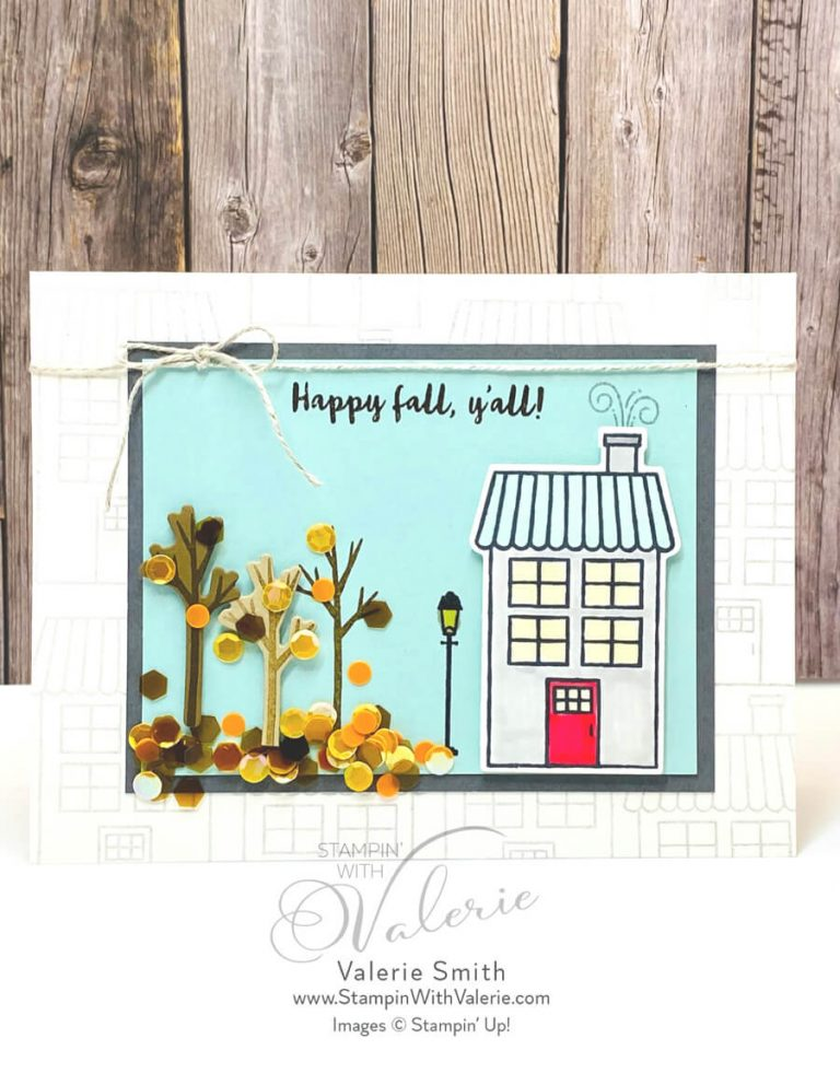 fall card with house and leaves