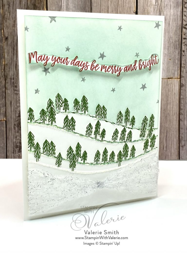 Christmas Card with snow hills and pine trees