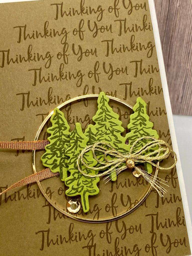 Thinking of You card with gold hoop and pine trees