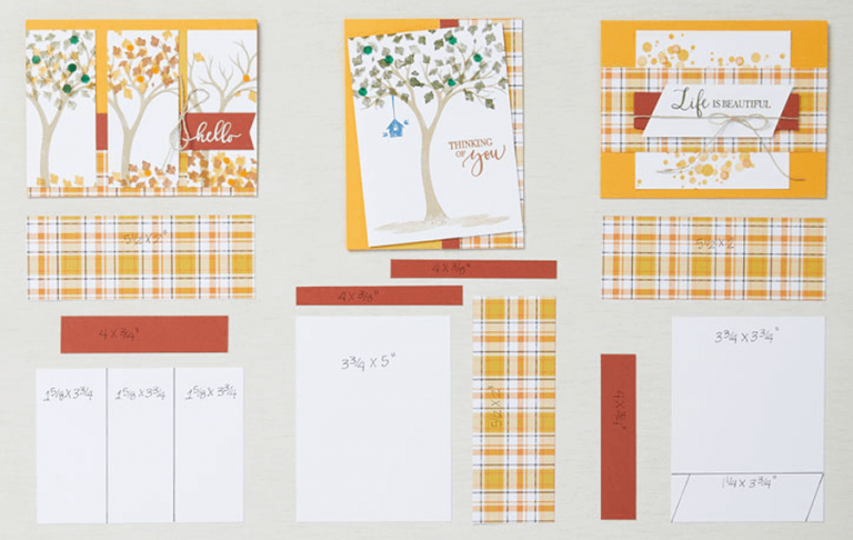 three autumn cards with Plaid paper