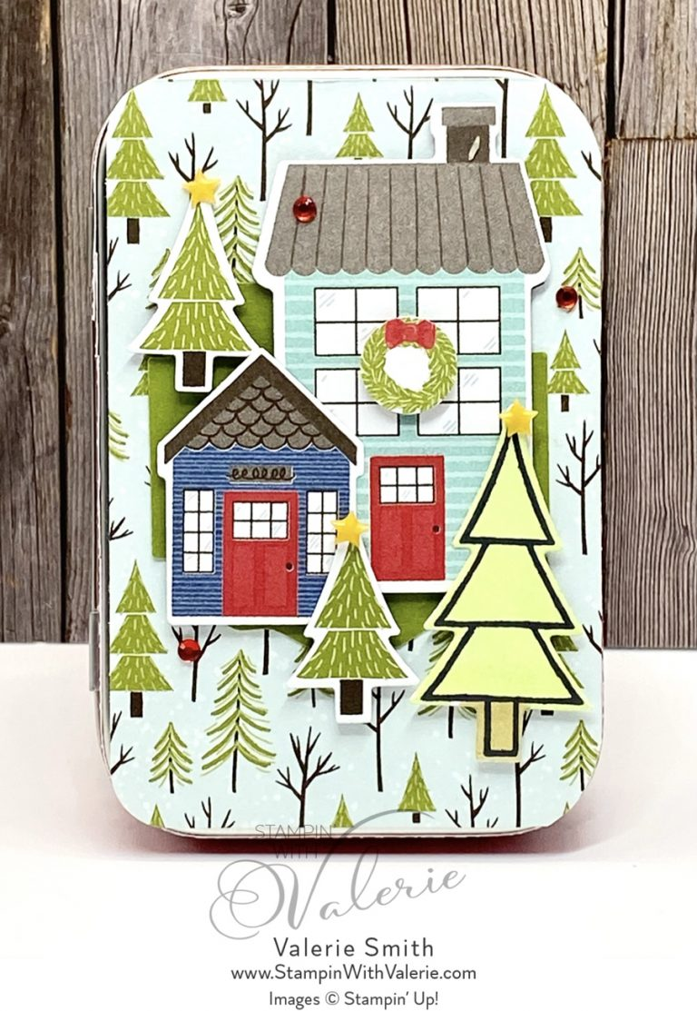 Rectangle Tin with Hoses and Trees on front
