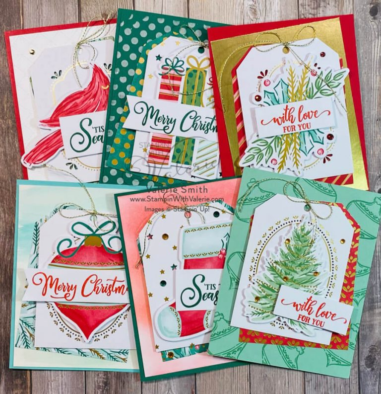 Six cards made with Tag buffet tags