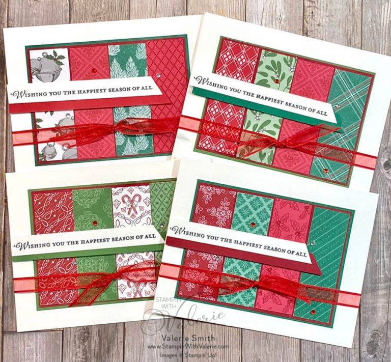 4 Christmas cards made with Designer Series Paper Strips